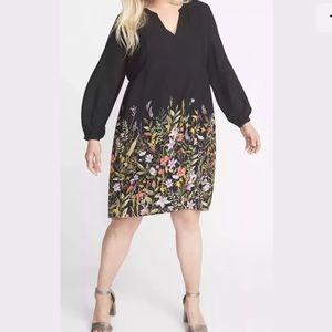 NEW Black w/Beautiful Floral Print Georgette Dress